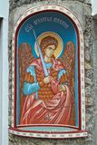 Icon of an angel with a sword on entrance into serbian monastery.  royalty free stock image