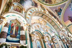 Icon of angels and holy apostles at iconostasis on church Royalty Free Stock Images