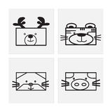 Icon animal faces Stock Image