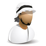 Icon of arabic man. Icon of arabian man with head and small beard Royalty Free Stock Images