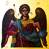 Icon of the Archangel Gabriel. Painted on wood royalty free stock photography