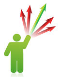 Icon with arrows going to different directions. Illustration design Royalty Free Stock Photography