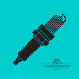 Icon automobile. Spark plug. The spare part for an internal combustion engine. A vector illustration in flat style Stock Photo