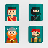 Icon avatar combat characters. Royalty Free Stock Photo