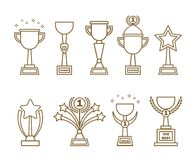Icons awards cups set. Icon awards cups set. Collection of line art trophies, cups, statues for designers and illustrators. A lot of awards in the form of vector Stock Images