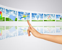 Icon on background of grass. Virtual screens Royalty Free Stock Images