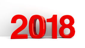 2018 icon background. Red 2018 symbol, icon or button on white wall, represents the new year 2018, three-dimensional rendering, 3D illustration Vector Illustration