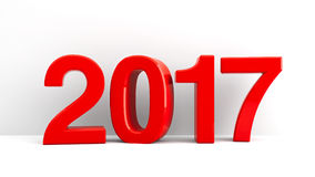 2017 icon background. Red 2017 symbol, icons or button on white wall, represents the new year 2017, three-dimensional rendering, 3D illustration Royalty Free Illustration