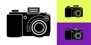 Icon of the camera in black on a white background with examples of using the vector vector illustration