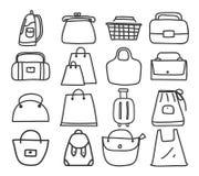 Icon bag hand drawn vector set line art illustration Royalty Free Stock Image