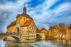 Obere bridge and Altes Rathaus in Bamberg, Germany. Icon of Bamberg Obere bridge or brucke and Altes Rathaus town hall, Germany stock photos