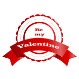 Icon banner red round Valentine`s day. Be my Valentine Stock Images