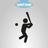 Icon of baseball player on a gray background. Vector illustration Royalty Free Stock Images