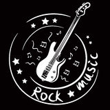 Icon with a bass guitar Royalty Free Stock Photo