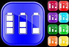 Icon of batteries. Icon of  batteries on shiny square buttons Royalty Free Stock Photos