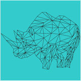Icon cartoon design Abstract illustration Line draft lined animal Rhino Stock Image