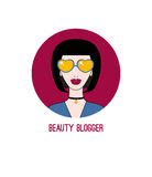 Icon beauty blogger. Beautiful girl in sunglasses with a choker. Fashion blog. Vector illustration Stock Photo