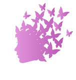 Icon with beauty woman profile with butterflies on grayscale Stock Photography