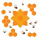 Icon. Nectar honey flower. Honeycomb and bees stock illustration