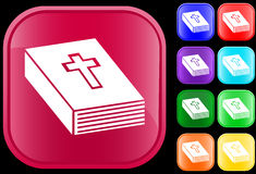 Icon of bible. On shiny square buttons Stock Illustration