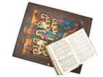 Icon and Bible Stock Photo