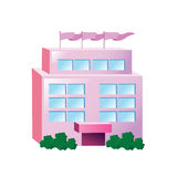 Icon big pink building Royalty Free Stock Images