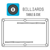 Icon of a billiard ball. Pool table and cues. Vector illustration stock illustration
