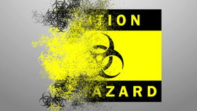 Icon biohazard distributed map. Dissemination of biological hazards on the ground stock footage