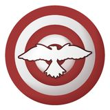 Icon with bird on the striped target. Icon with bird on the target with red and white stripes on white background stock illustration