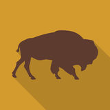 Icon bison on an orange background in the flat design. Vector illustration Royalty Free Stock Images