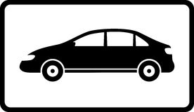 Icon with black car silhouette. Icon with modern isolated black car silhouette Royalty Free Stock Photography