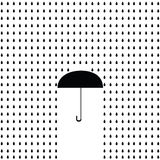 Icon black umbrella with rain. Raster Royalty Free Stock Images