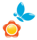 Icon of blossom with butterfly Royalty Free Stock Photos