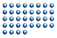 Icon Blue Alphabet Font A-Z. Decorative Icon Blue Alphabet. Letters and Numbers. gradients and transparencies used Stock Photo