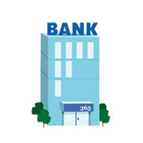 Icon blue bank building Royalty Free Stock Photo