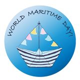 Icon with the boat, with the World Maritime Day! vector illustration