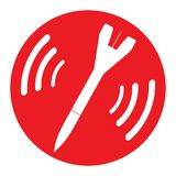 Icon bomb attention Red round icon with one white falling rocket inside Do not use nuclear weapons Emblem refusal to use. Nuclear missiles Vector isolated Royalty Free Stock Photography