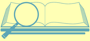 Book with magnifier - search symbol Stock Photo