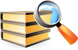 Icon of books and lens Stock Photo