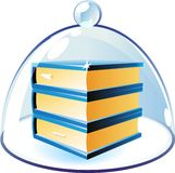 Icon of books under bell-glass Royalty Free Stock Images