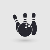 Icon bowling. Ball and three pins. Pictogram pointer. Stock Photo