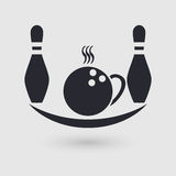 Icon bowling. Cafeteria, cafe, catering place. Pictogram pointer. Stock Images