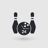 Icon bowling with clock face. Day and night. Pictogram pointer. Stock Photo