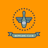 Icon bowling club. Logo, icon bowling club, team or league. Vector pin with wings, stars and ribbon. Symbol of winner, win Royalty Free Stock Image