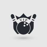 Icon bowling with crown. Inscription VIP . Pictogram pointer. Stock Photos