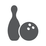 Icon of bowling. Bowling game pin ball design flat vector stock Royalty Free Stock Photos