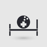 Icon bowling. Medical room of bowling club. Pictogram pointer. Stock Image