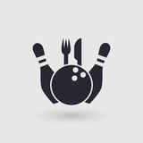 Icon bowling. Restaurant, cafe, catering place. Pictogram pointer. Royalty Free Stock Photos