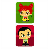 Icon boy and girl Stock Photo