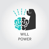 Icon of brain and muscle hand. Willpower concept Stock Photo